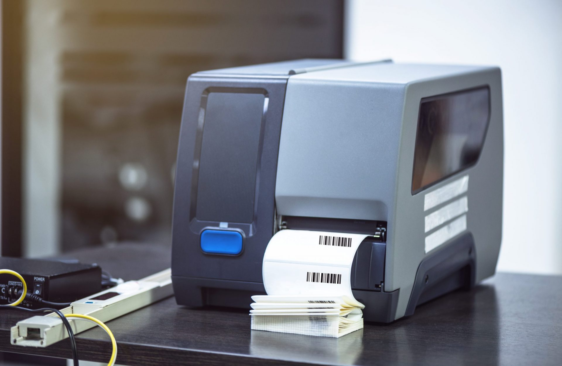 Barcode label printer. Printing Barcode